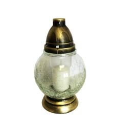 Lanterne funéraire verre craquelé