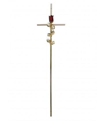 Croix cercueil «fil» avec rose rouge