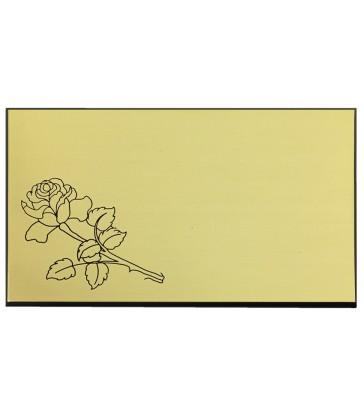 Plaque identité autocollante avec rose pour cercueil