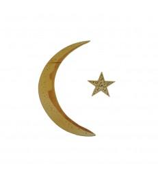 Croissant de lune et étoile en bois