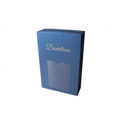 Boîte à dons avec scellé et porte photo - Marine