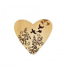 Coeur avec oiseaux en bois