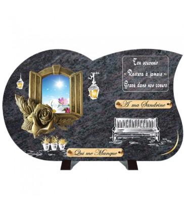 """Plaque Funéraire Compogranit Prestige """"Bronze fenêtre"""""""