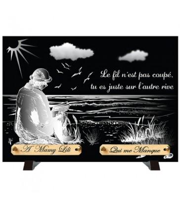 """Plaque Funéraire Monochrome """"Au bord de la Mer"""""""