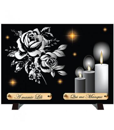 """Plaque Funéraire Monochrome """"Roses et Bougies"""""""