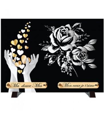 """Plaque Funéraire Monochrome """"Mains et roses"""""""
