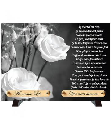 """Plaque Funéraire Monochrome """"Roses Blanches"""""""