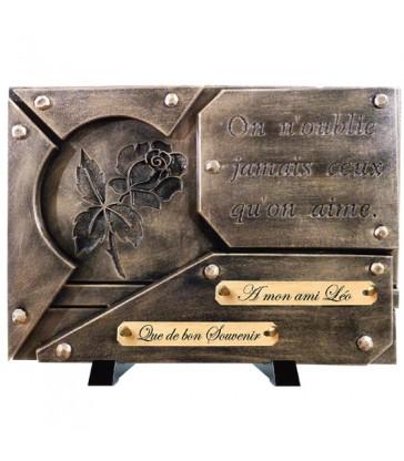 "Plaque Funéraire Contemporaine Bronze ""Gravure rose"""