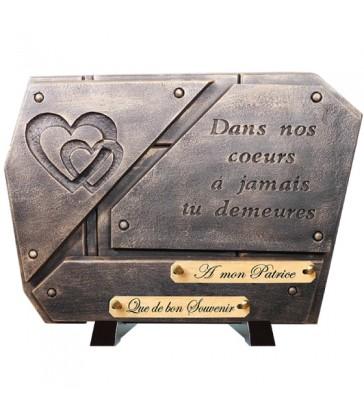 """Plaque Funéraire Contemporaine Bronze """"Gravure Cœur"""""""