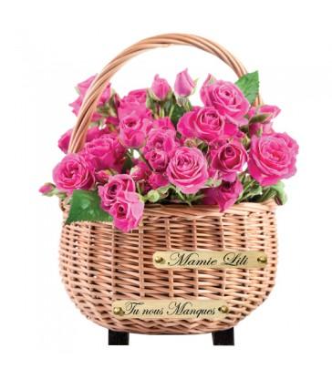 """Plaque Funéraire Fleurs """"Panier de roses"""""""