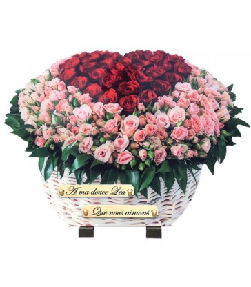 """Plaque Funéraire Fleurs """"Panier de roses 2 couleurs"""""""