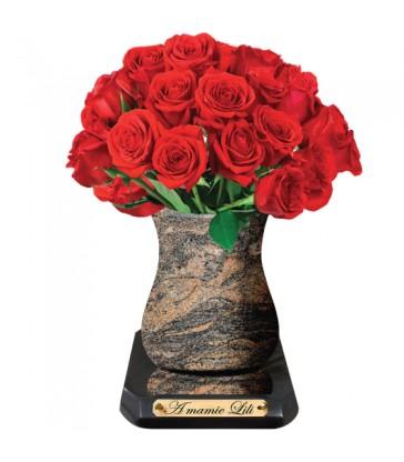 """Plaque Funéraire Fleurs """"Roses rouges"""""""