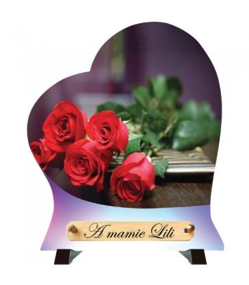 """Plaque Funéraire Cœur """"Bouquet de roses"""""""
