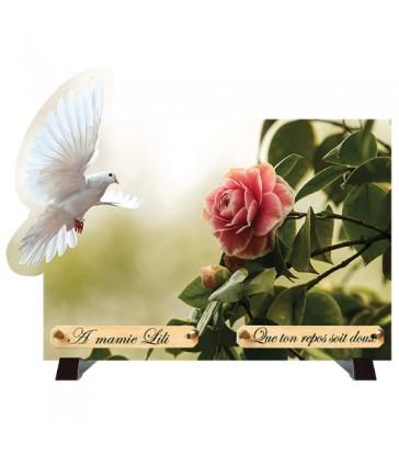"""Plaque Funéraire débordantes """"Colombe et roses"""""""