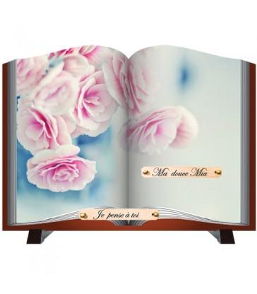 """Plaque Funéraire découpe """"livre et roses"""""""