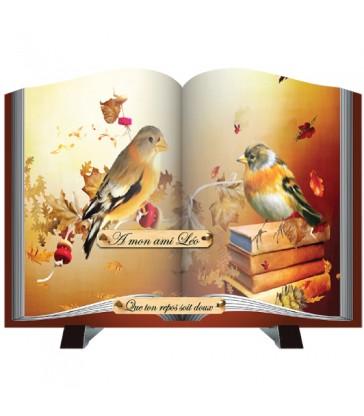 """Plaque Funéraire découpe Livre """"oiseaux"""""""