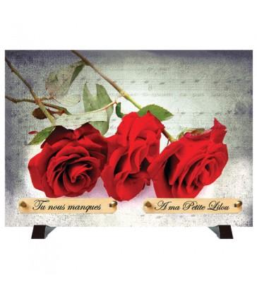 """Plaque Funéraire """"3 roses rouges"""""""