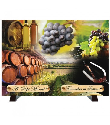 """Plaque Funéraire """"La vigne et le vin"""""""