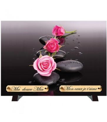"""Plaque Funéraire """"Galets et roses"""""""