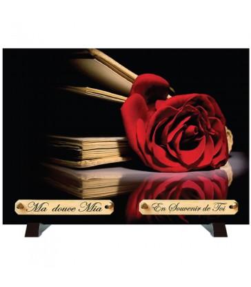 """Plaque Funéraire """"Livre et rose"""""""