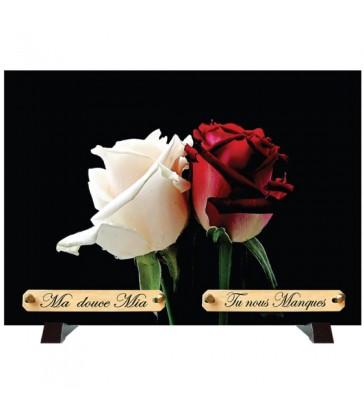 """Plaque Funéraire """"Deux roses"""""""