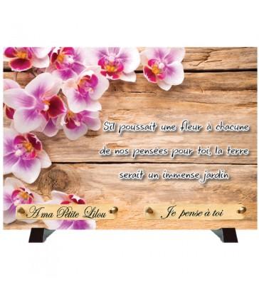 """Plaque Funéraire """"Décor bois et Fleurs"""""""