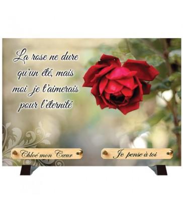 """Plaque Funéraire """"Nature et rose rouge"""""""
