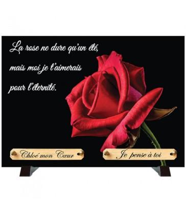 """Plaque Funéraire """"Rose rouge sur fond noir"""""""