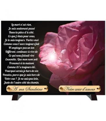 """Plaque Funéraire """"Rose et éclat """""""