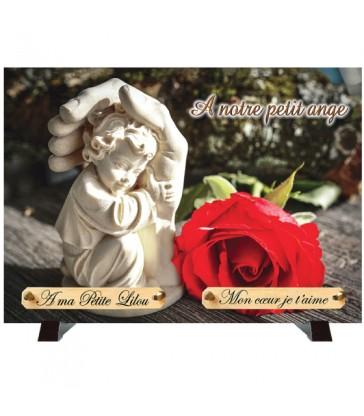 """Plaque Funéraire """"Rose rouge et Ange"""""""
