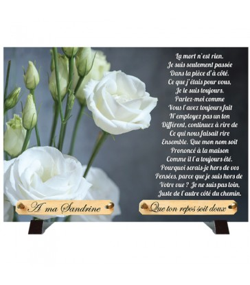 "Plaque Funéraire ""Roses Blanches"""
