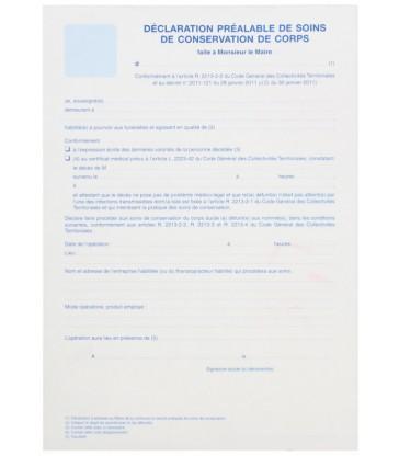 Déclaration préalable de soins de conservation de corps, paquet de 25